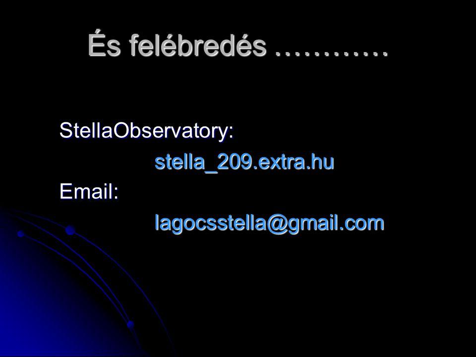 És felébredés ………… StellaObservatory:stella_209.extra.huEmail:lagocsstella@gmail.com