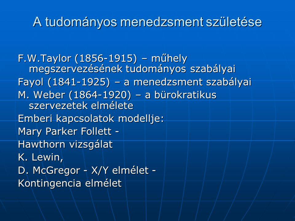 A tudományos menedzsment születése F.W.Taylor (1856-1915) – műhely megszervezésének tudományos szabályai Fayol (1841-1925) – a menedzsment szabályai M