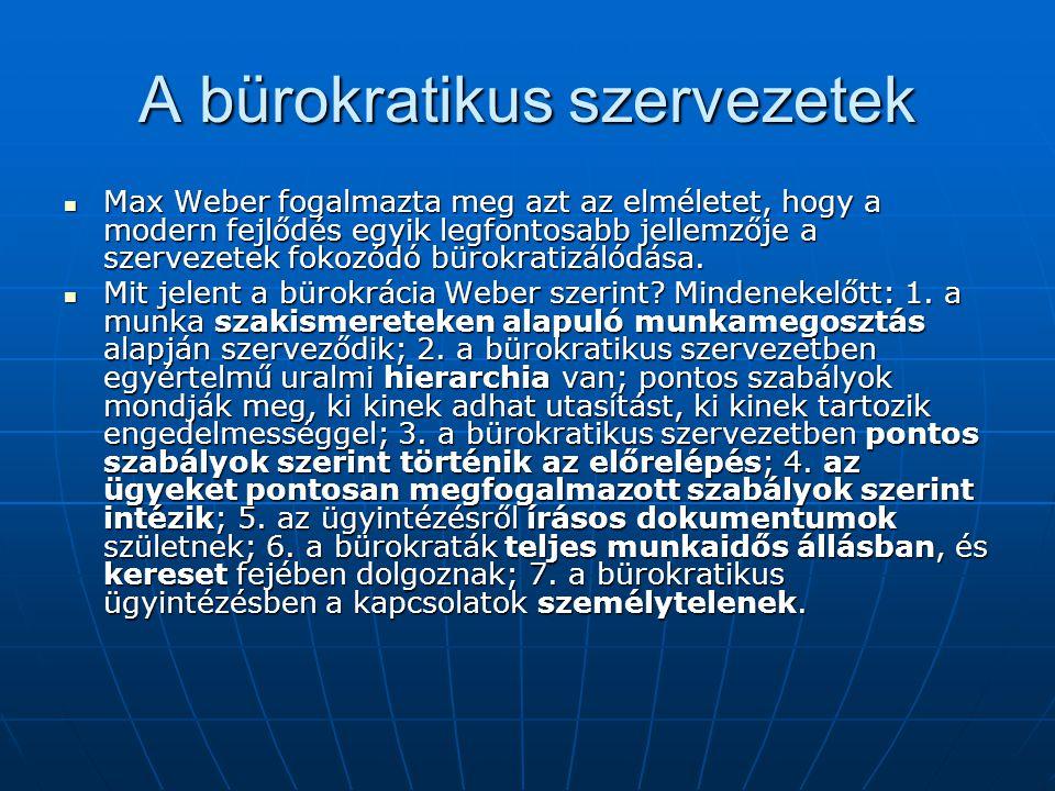A bürokratikus szervezetek  Max Weber fogalmazta meg azt az elméletet, hogy a modern fejlődés egyik legfontosabb jellemzője a szervezetek fokozódó bü