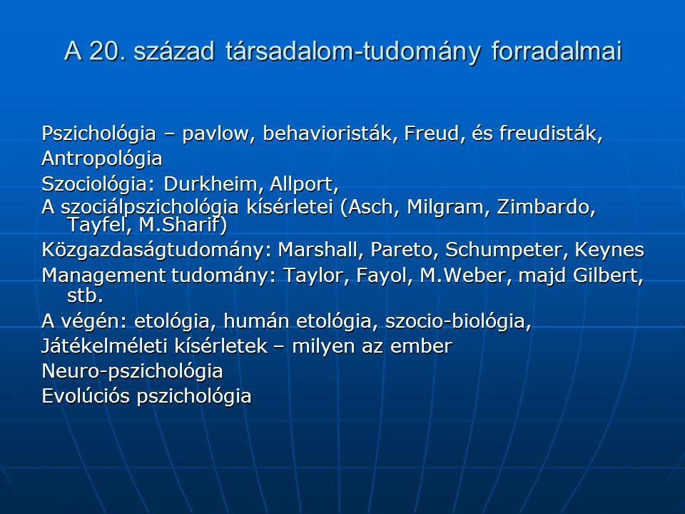 A 20. század társadalom-tudomány forradalmai Pszichológia – pavlow, behavioristák, Freud, és freudisták, Antropológia Szociológia: Durkheim, Allport,