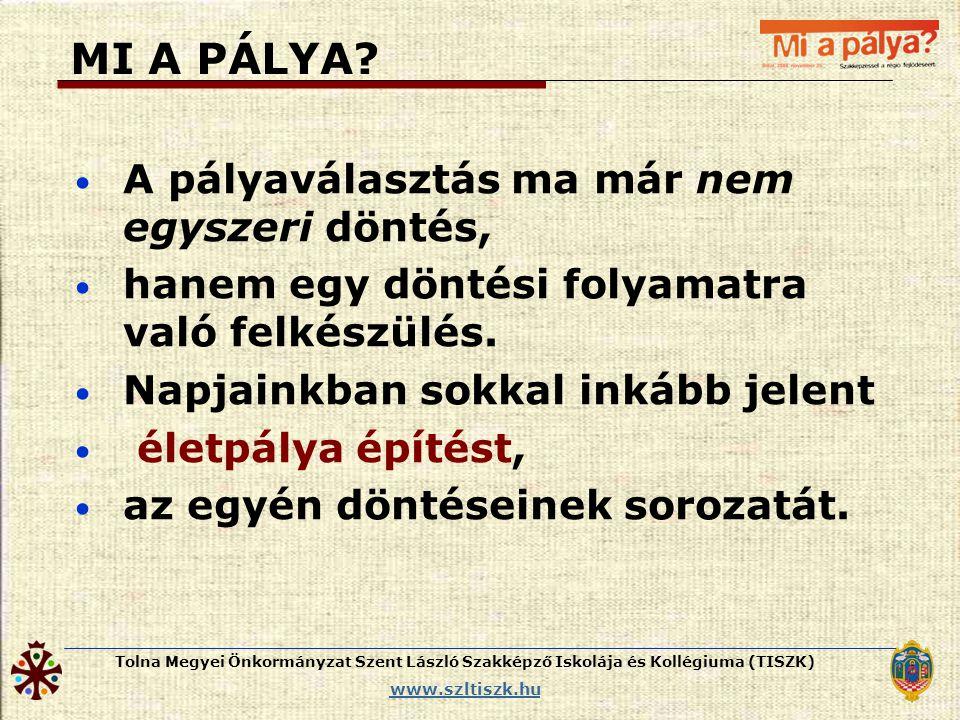 Tolna Megyei Önkormányzat Szent László Szakképző Iskolája és Kollégiuma (TISZK) www.szltiszk.hu MI A PÁLYA? • A pályaválasztás ma már nem egyszeri dön