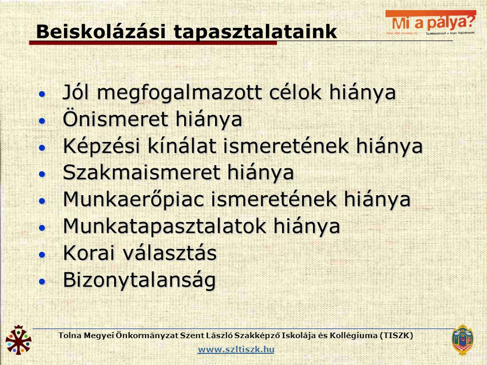 Tolna Megyei Önkormányzat Szent László Szakképző Iskolája és Kollégiuma (TISZK) www.szltiszk.hu Beiskolázási tapasztalataink • Jól megfogalmazott célo