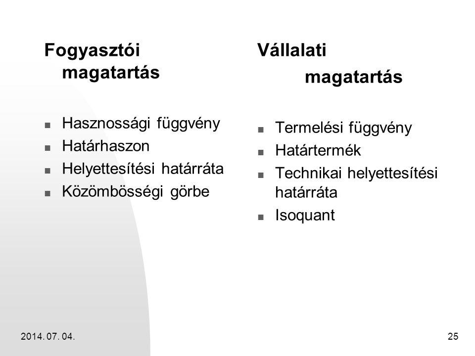 2014. 07. 04.25 Fogyasztói magatartás  Hasznossági függvény  Határhaszon  Helyettesítési határráta  Közömbösségi görbe Vállalati magatartás  Term