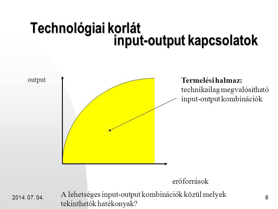 2014. 07. 04.6 Technológiai korlát input-output kapcsolatok erőforrások output Termelési halmaz: technikailag megvalósítható input-output kombinációk