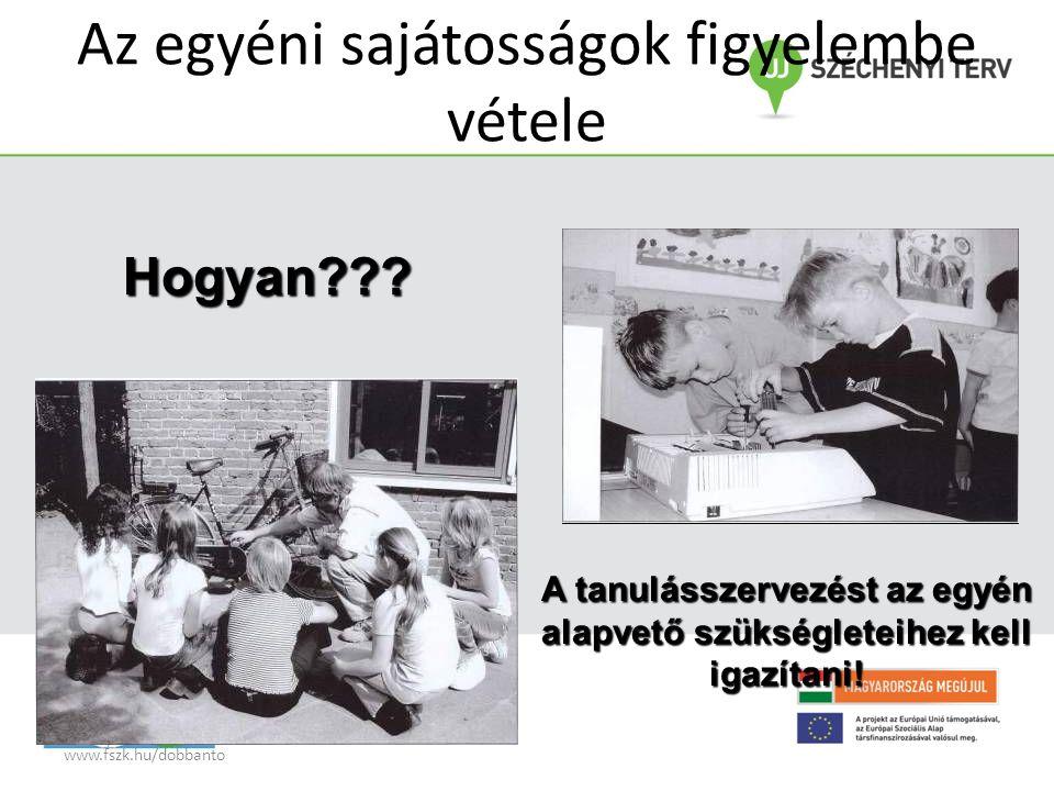 www.fszk.hu/dobbanto Az egyéni sajátosságok figyelembe vétele Hogyan??.