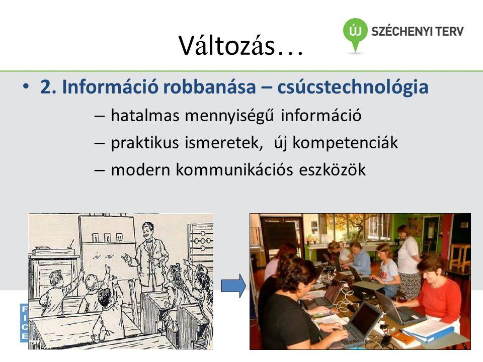 www.fszk.hu/dobbanto V á ltoz á s … • 2. Információ robbanása – csúcstechnológia – hatalmas mennyiségű információ – praktikus ismeretek, új kompetenci