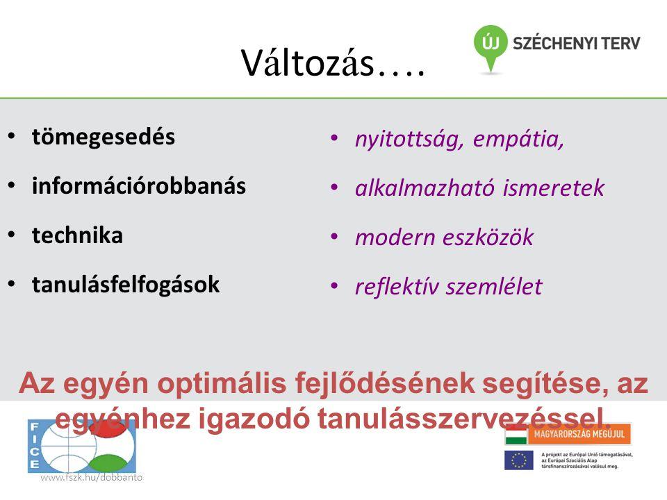 www.fszk.hu/dobbanto V á ltoz á s …. • tömegesedés • információrobbanás • technika • tanulásfelfogások • nyitottság, empátia, • alkalmazható ismeretek