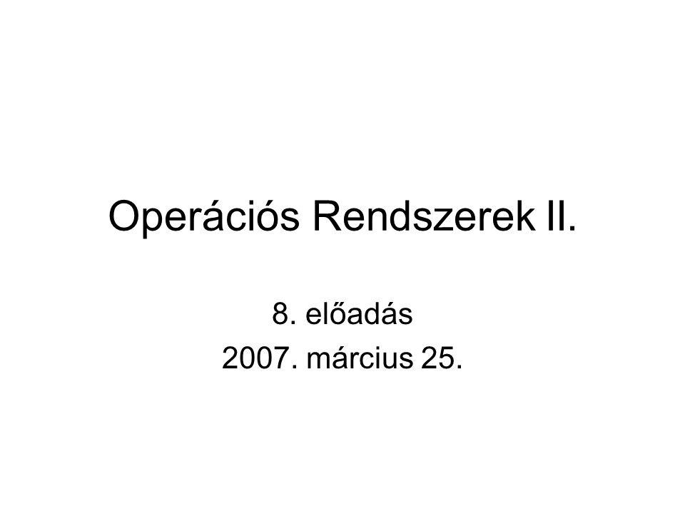 Operációs Rendszerek II. 8. előadás 2007. március 25.