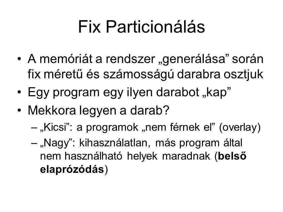 """Fix Particionálás •A memóriát a rendszer """"generálása során fix méretű és számosságú darabra osztjuk •Egy program egy ilyen darabot """"kap •Mekkora legyen a darab."""