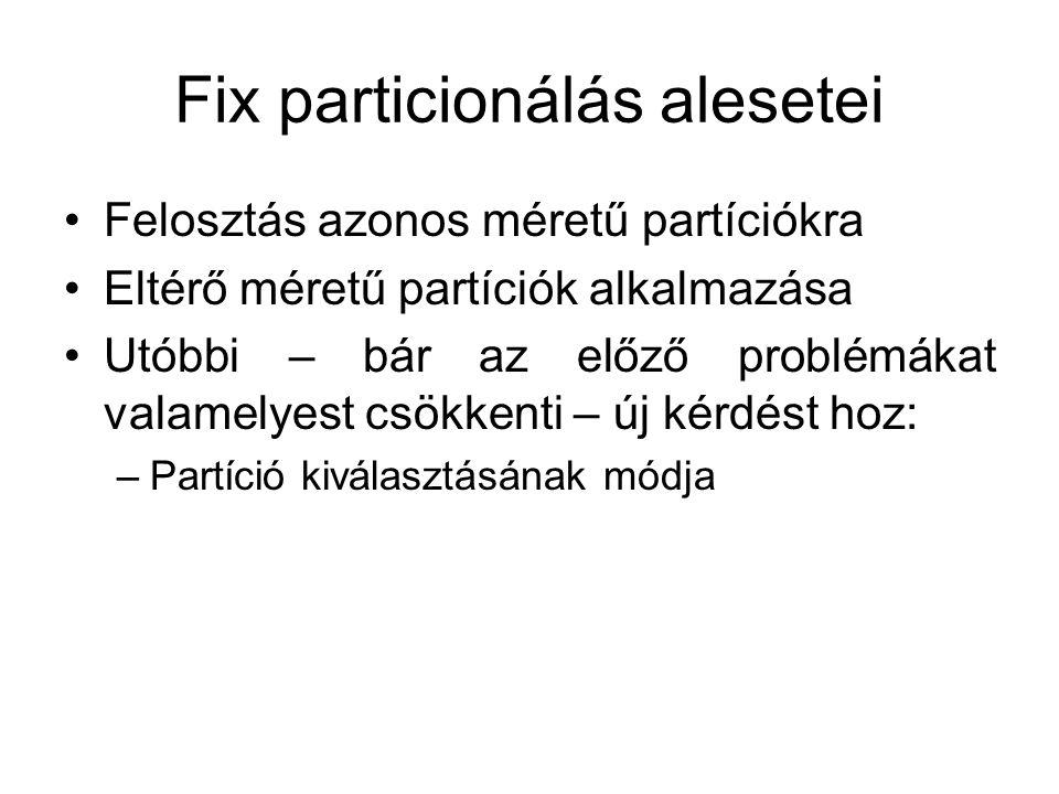 Fix particionálás alesetei •Felosztás azonos méretű partíciókra •Eltérő méretű partíciók alkalmazása •Utóbbi – bár az előző problémákat valamelyest csökkenti – új kérdést hoz: –Partíció kiválasztásának módja