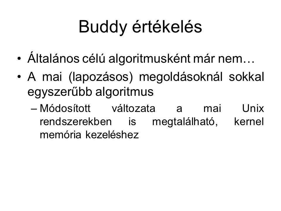 Buddy értékelés •Általános célú algoritmusként már nem… •A mai (lapozásos) megoldásoknál sokkal egyszerűbb algoritmus –Módosított változata a mai Unix rendszerekben is megtalálható, kernel memória kezeléshez
