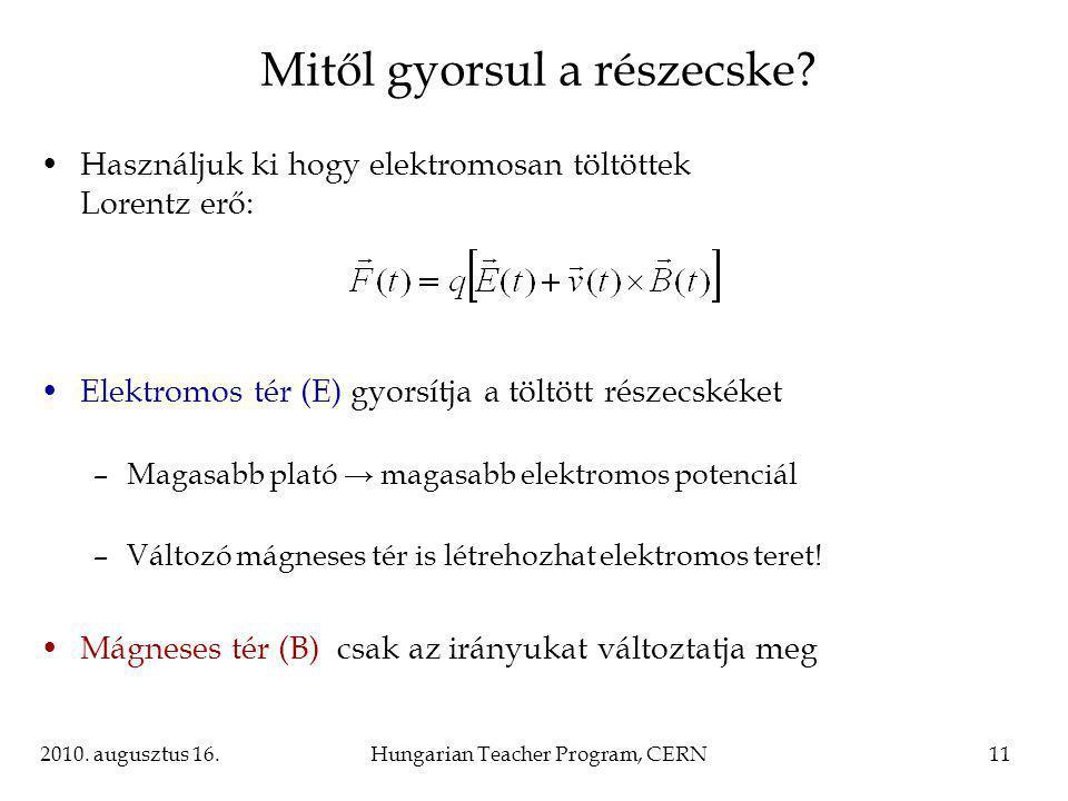 2010. augusztus 16.Hungarian Teacher Program, CERN11 Mitől gyorsul a részecske.