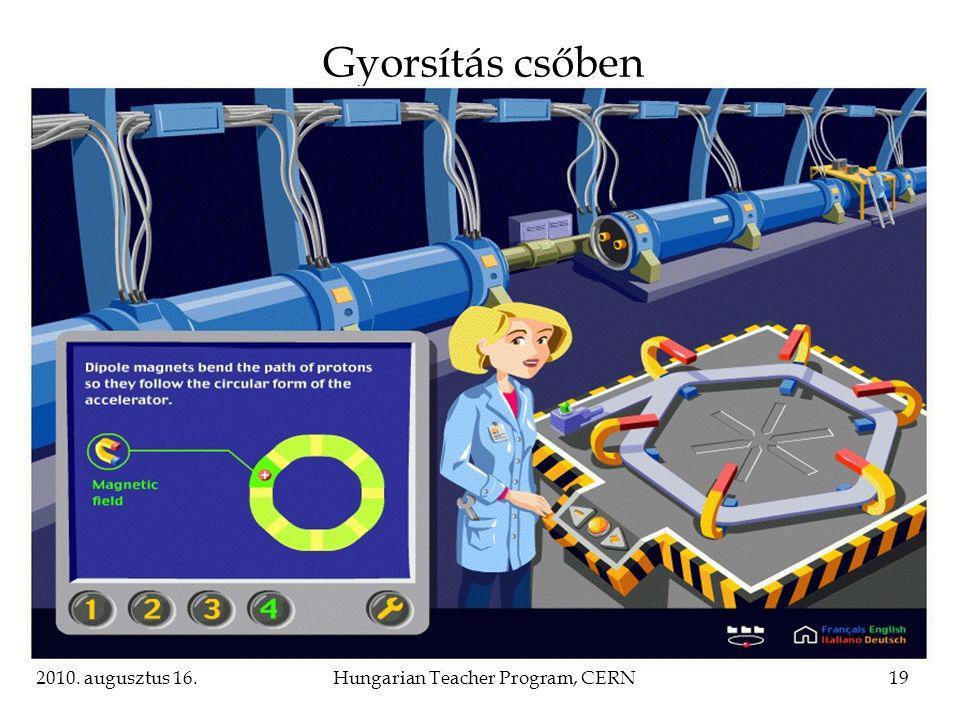2010. augusztus 16.Hungarian Teacher Program, CERN19 Gyorsítás csőben