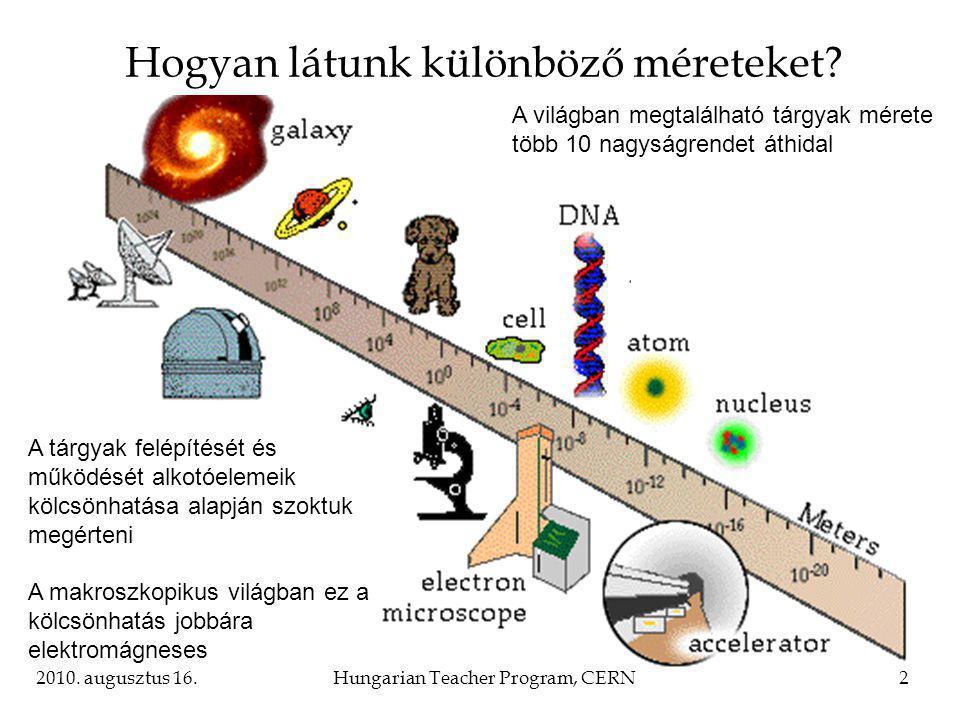 2010. augusztus 16.Hungarian Teacher Program, CERN2 Hogyan látunk különböző méreteket.