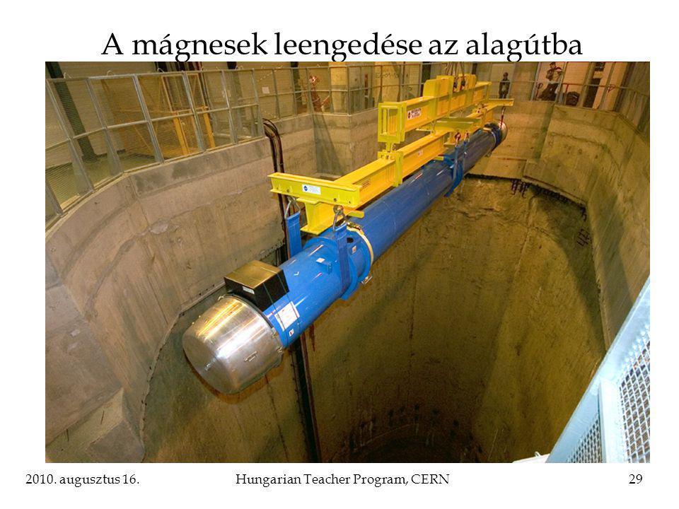 2010. augusztus 16.Hungarian Teacher Program, CERN29 A mágnesek leengedése az alagútba