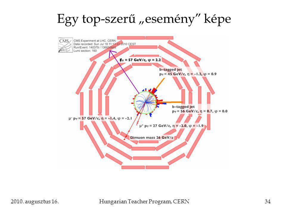 """2010. augusztus 16.Hungarian Teacher Program, CERN34 Egy top-szerű """"esemény képe"""