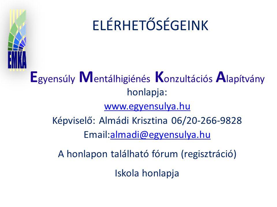 E gyensúly M entálhigiénés K onzultációs A lapítvány honlapja: www.egyensulya.hu Képviselő: Almádi Krisztina 06/20-266-9828 Email:almadi@egyensulya.hualmadi@egyensulya.hu A honlapon található fórum (regisztráció) Iskola honlapja ELÉRHETŐSÉGEINK
