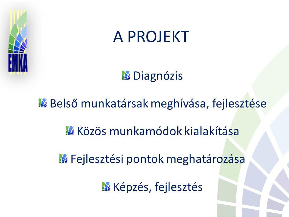 A PROJEKT Diagnózis Belső munkatársak meghívása, fejlesztése Közös munkamódok kialakítása Fejlesztési pontok meghatározása Képzés, fejlesztés