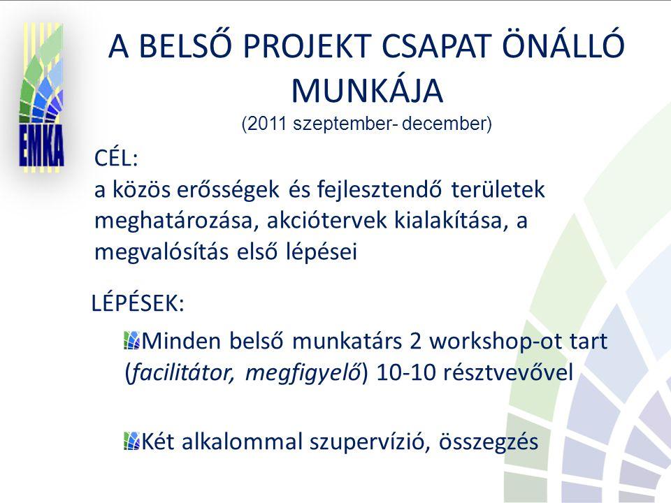 CÉL: a közös erősségek és fejlesztendő területek meghatározása, akciótervek kialakítása, a megvalósítás első lépései LÉPÉSEK: Minden belső munkatárs 2 workshop-ot tart (facilitátor, megfigyelő) 10-10 résztvevővel Két alkalommal szupervízió, összegzés A BELSŐ PROJEKT CSAPAT ÖNÁLLÓ MUNKÁJA (2011 szeptember- december)