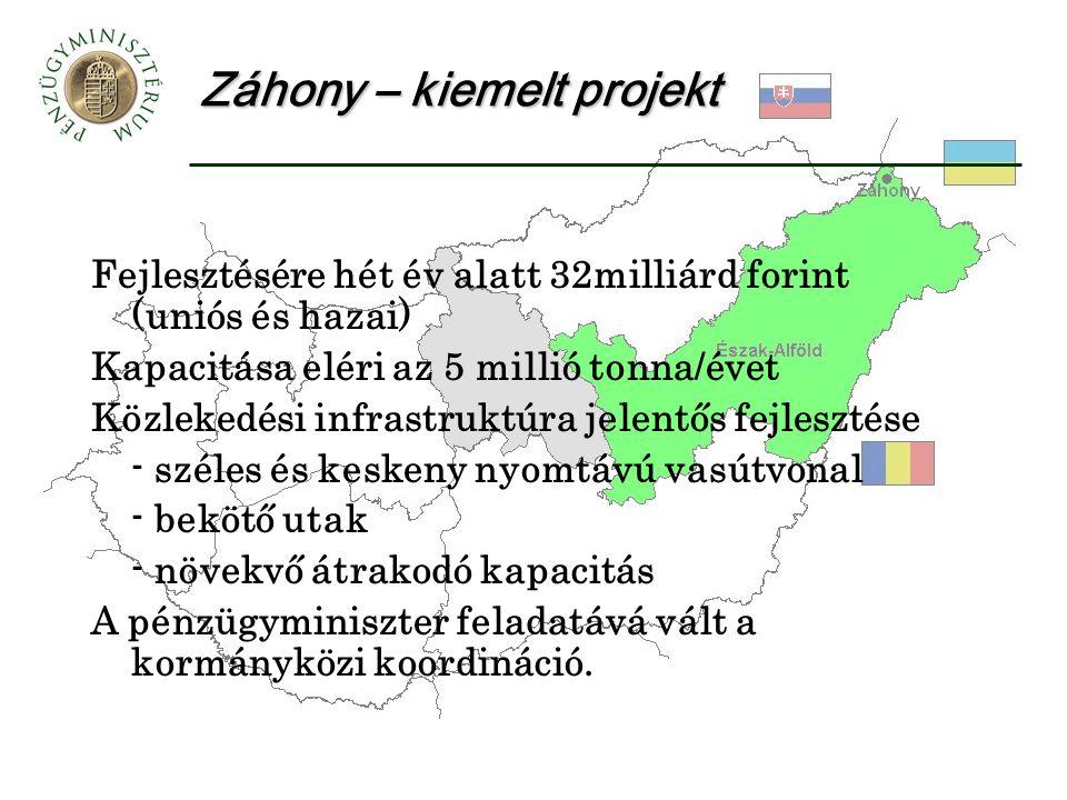 Záhony – kiemelt projekt Fejlesztésére hét év alatt 32milliárd forint (uniós és hazai) Kapacitása eléri az 5 millió tonna/évet Közlekedési infrastruktúra jelentős fejlesztése - széles és keskeny nyomtávú vasútvonal - bekötő utak - növekvő átrakodó kapacitás A pénzügyminiszter feladatává vált a kormányközi koordináció.