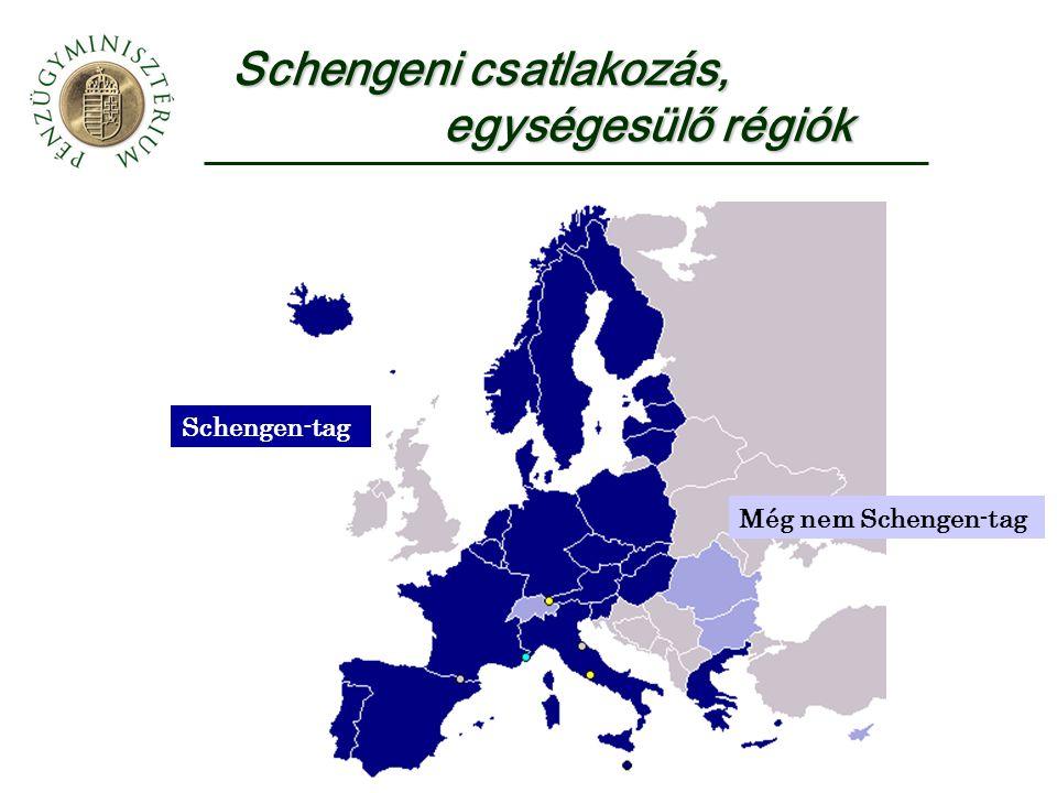 Schengeni csatlakozás, egységesülő régiók Még nem Schengen-tag Schengen-tag