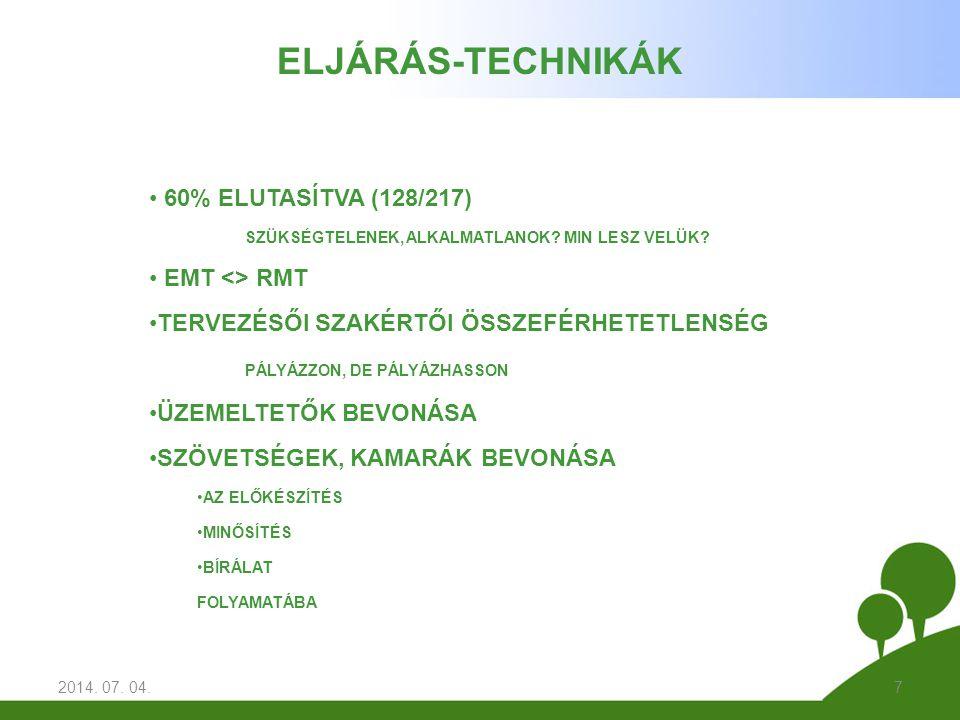 2014. 07. 04.7 ELJÁRÁS-TECHNIKÁK • 60% ELUTASÍTVA (128/217) SZÜKSÉGTELENEK, ALKALMATLANOK.