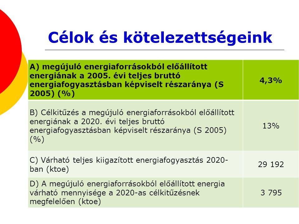 Célok és kötelezettségeink A) megújuló energiaforrásokból előállított energiának a 2005. évi teljes bruttó energiafogyasztásban képviselt részaránya (