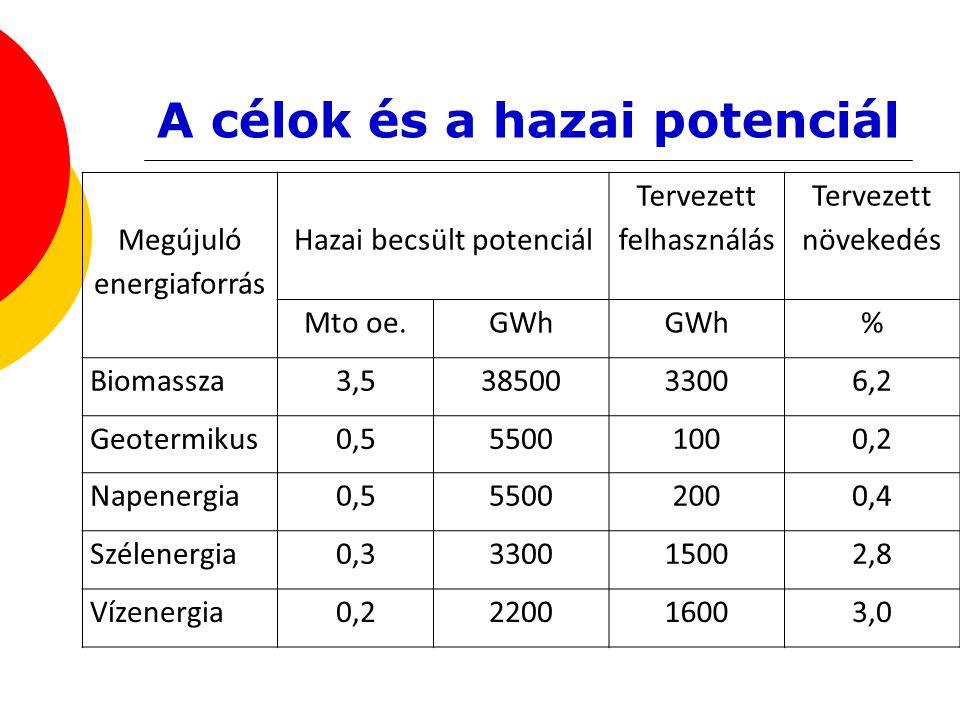 A célok és a hazai potenciál Megújuló energiaforrás Hazai becsült potenciál Tervezett felhasználás Tervezett növekedés Mto oe.GWh % Biomassza3,5385003