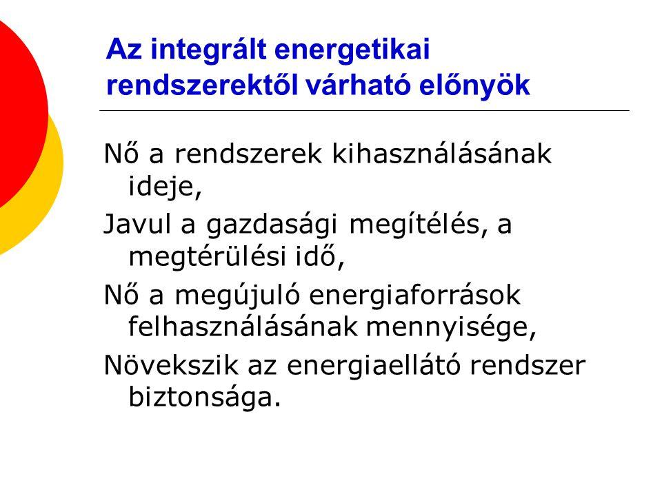 Az integrált energetikai rendszerektől várható előnyök Nő a rendszerek kihasználásának ideje, Javul a gazdasági megítélés, a megtérülési idő, Nő a meg