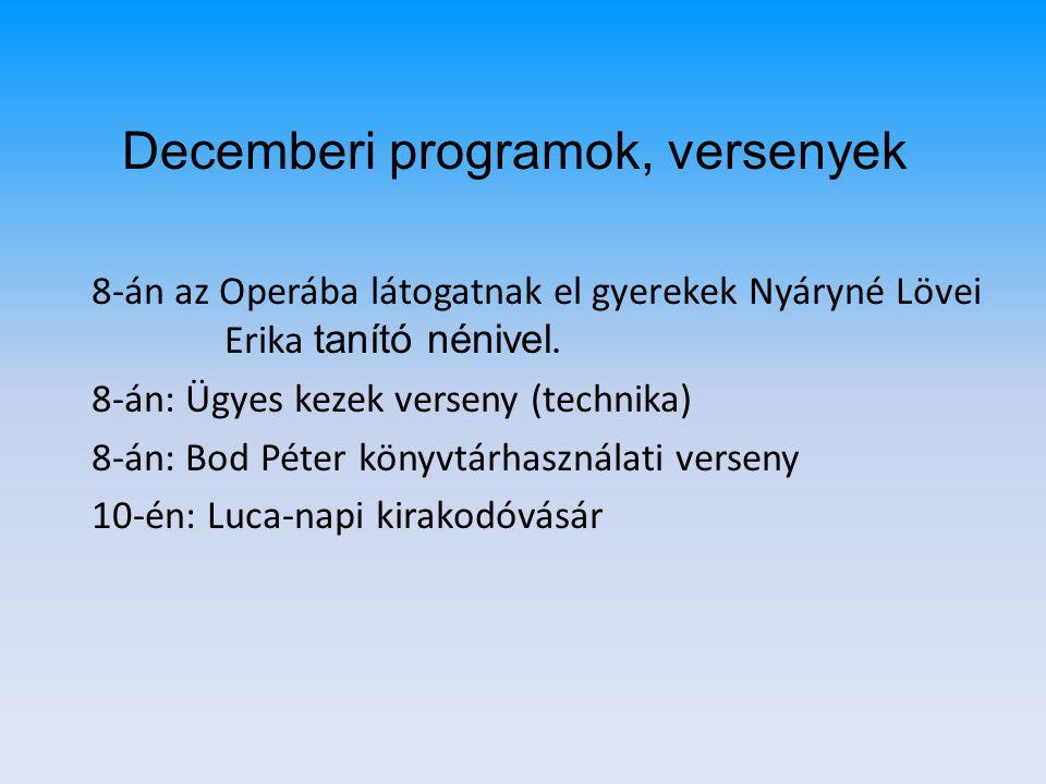 8-án az Operába látogatnak el gyerekek Nyáryné Lövei Erika tanító nénivel. 8-án: Ügyes kezek verseny (technika) 8-án: Bod Péter könyvtárhasználati ver