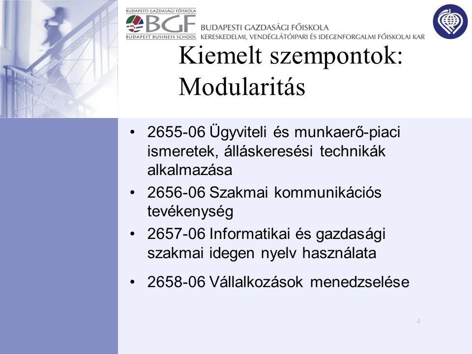 4 Kiemelt szempontok: Modularitás •2655-06 Ügyviteli és munkaerő-piaci ismeretek, álláskeresési technikák alkalmazása •2656-06 Szakmai kommunikációs t