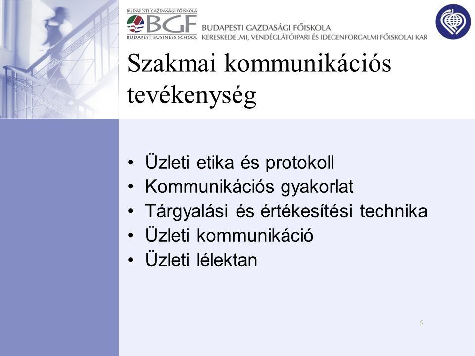 5 Szakmai kommunikációs tevékenység •Üzleti etika és protokoll •Kommunikációs gyakorlat •Tárgyalási és értékesítési technika •Üzleti kommunikáció •Üzl