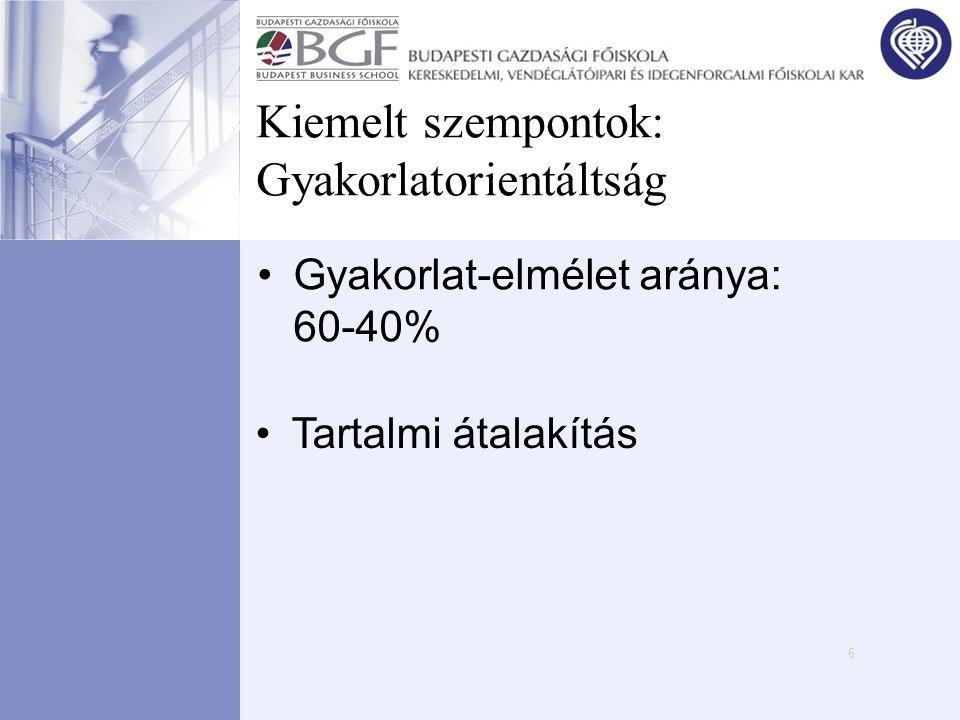 6 Kiemelt szempontok: Gyakorlatorientáltság •Gyakorlat-elmélet aránya: 60-40% •Tartalmi átalakítás
