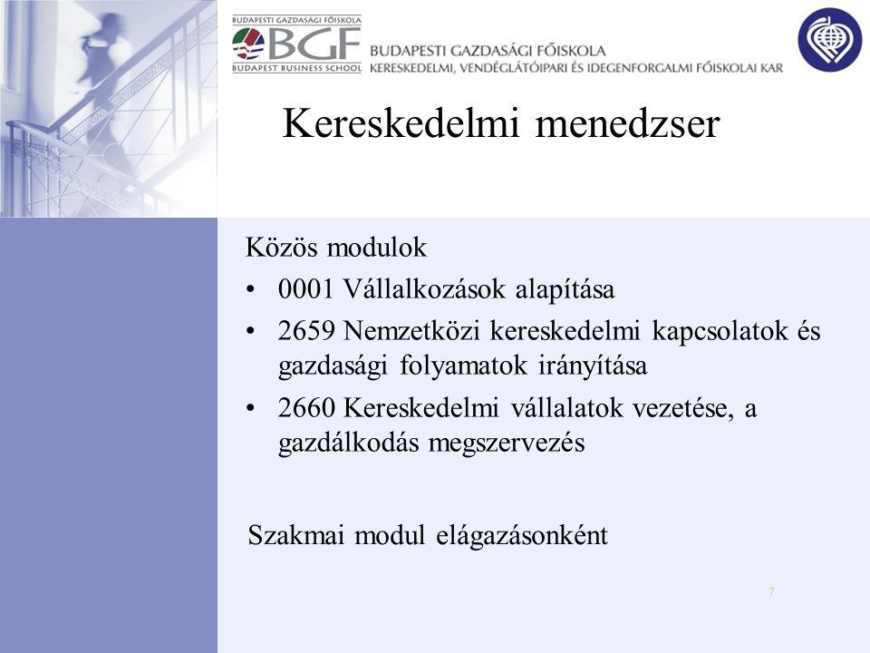 7 Kereskedelmi menedzser Közös modulok •0001 Vállalkozások alapítása •2659 Nemzetközi kereskedelmi kapcsolatok és gazdasági folyamatok irányítása •266
