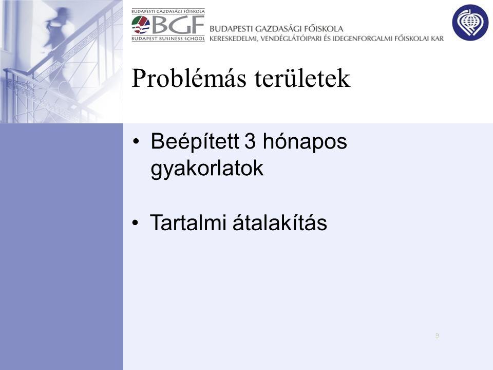 9 Problémás területek •Beépített 3 hónapos gyakorlatok •Tartalmi átalakítás