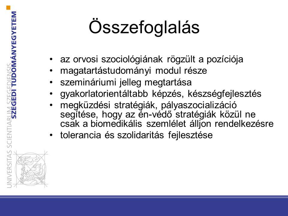 Összefoglalás •az orvosi szociológiának rögzült a pozíciója •magatartástudományi modul része •szemináriumi jelleg megtartása •gyakorlatorientáltabb ké