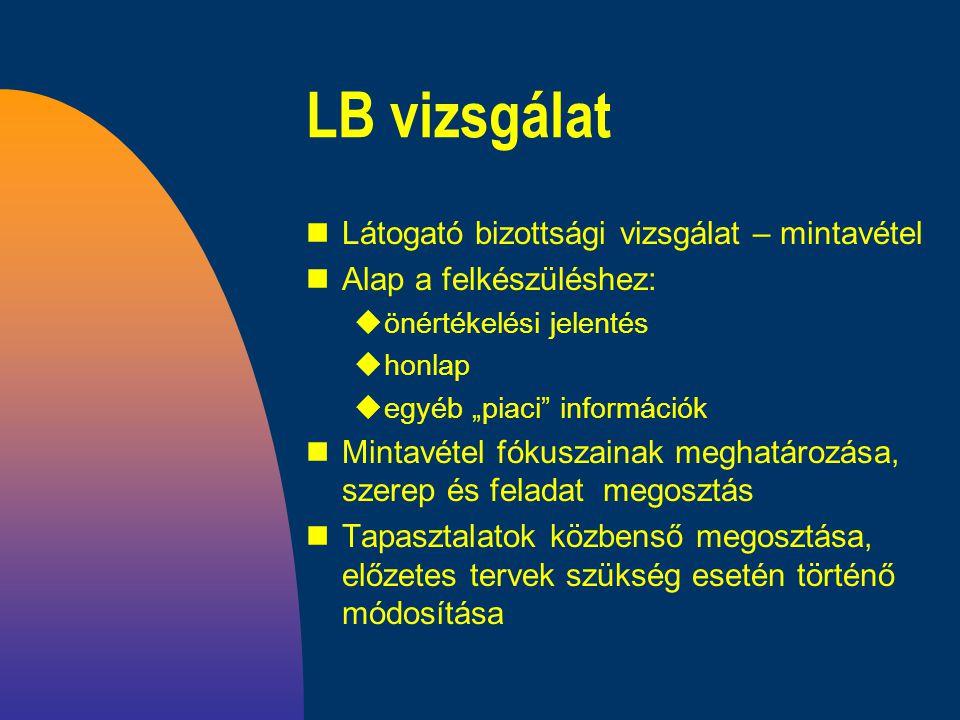"""LB vizsgálat nLátogató bizottsági vizsgálat – mintavétel nAlap a felkészüléshez: uönértékelési jelentés uhonlap uegyéb """"piaci információk nMintavétel fókuszainak meghatározása, szerep és feladat megosztás nTapasztalatok közbenső megosztása, előzetes tervek szükség esetén történő módosítása"""