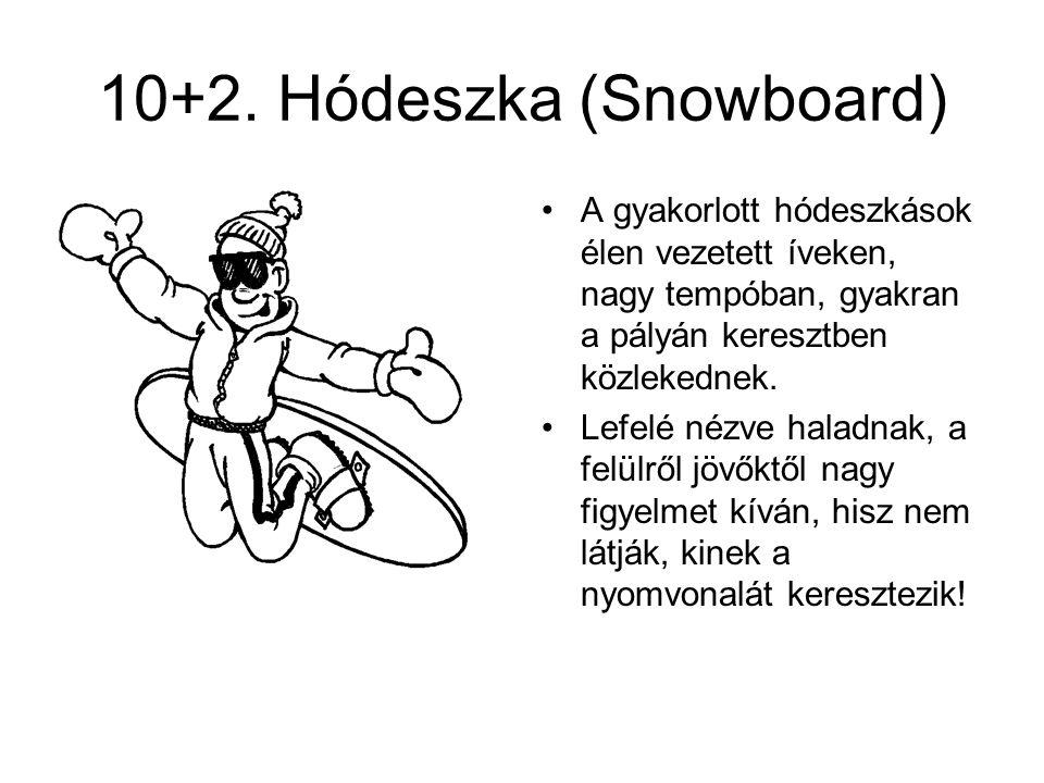 10+2. Hódeszka (Snowboard) •A gyakorlott hódeszkások élen vezetett íveken, nagy tempóban, gyakran a pályán keresztben közlekednek. •Lefelé nézve halad