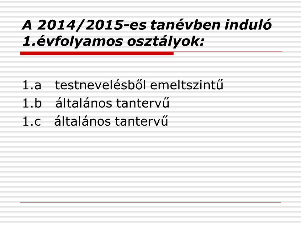 A 2014/2015-es tanévben induló 1.évfolyamos osztályok: 1.a testnevelésből emeltszintű 1.b általános tantervű 1.c általános tantervű