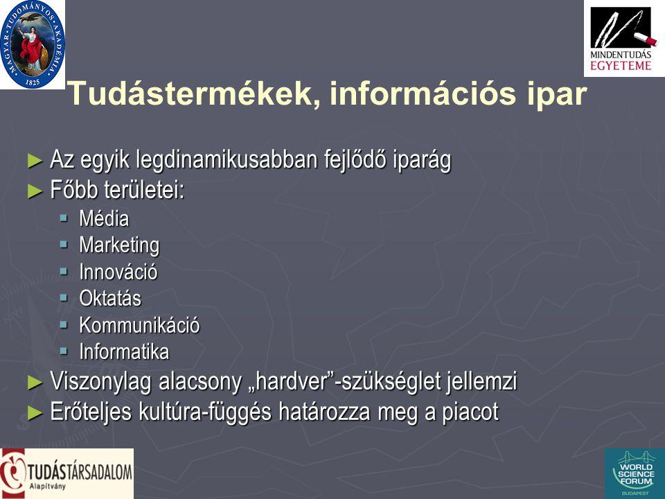 """Tudástermékek, információs ipar ► Az egyik legdinamikusabban fejlődő iparág ► Főbb területei:  Média  Marketing  Innováció  Oktatás  Kommunikáció  Informatika ► Viszonylag alacsony """"hardver -szükséglet jellemzi ► Erőteljes kultúra-függés határozza meg a piacot"""