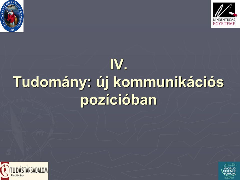 IV. Tudomány: új kommunikációs pozícióban