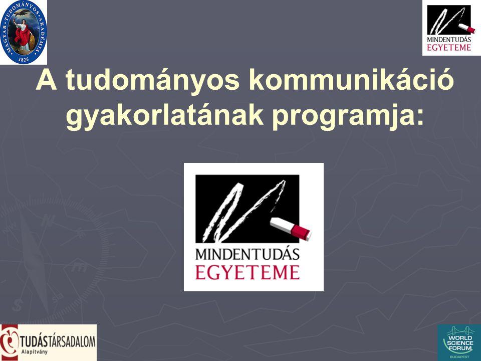 A tudományos kommunikáció gyakorlatának programja: