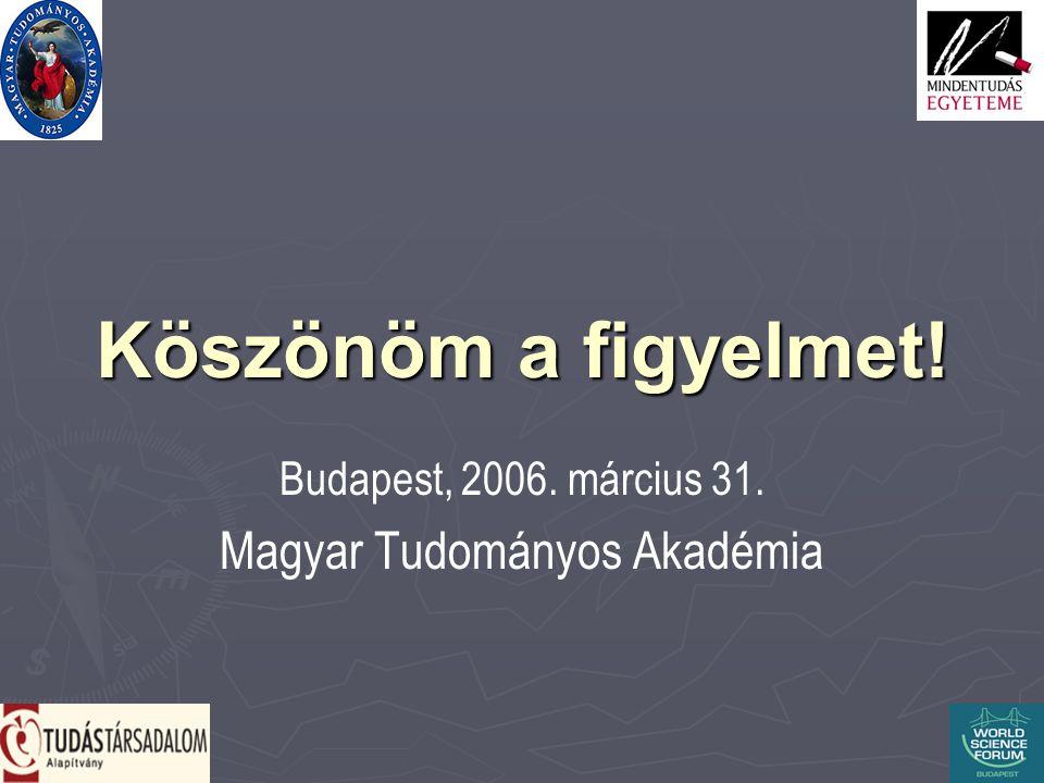 Köszönöm a figyelmet! Budapest, 2006. március 31. Magyar Tudományos Akadémia