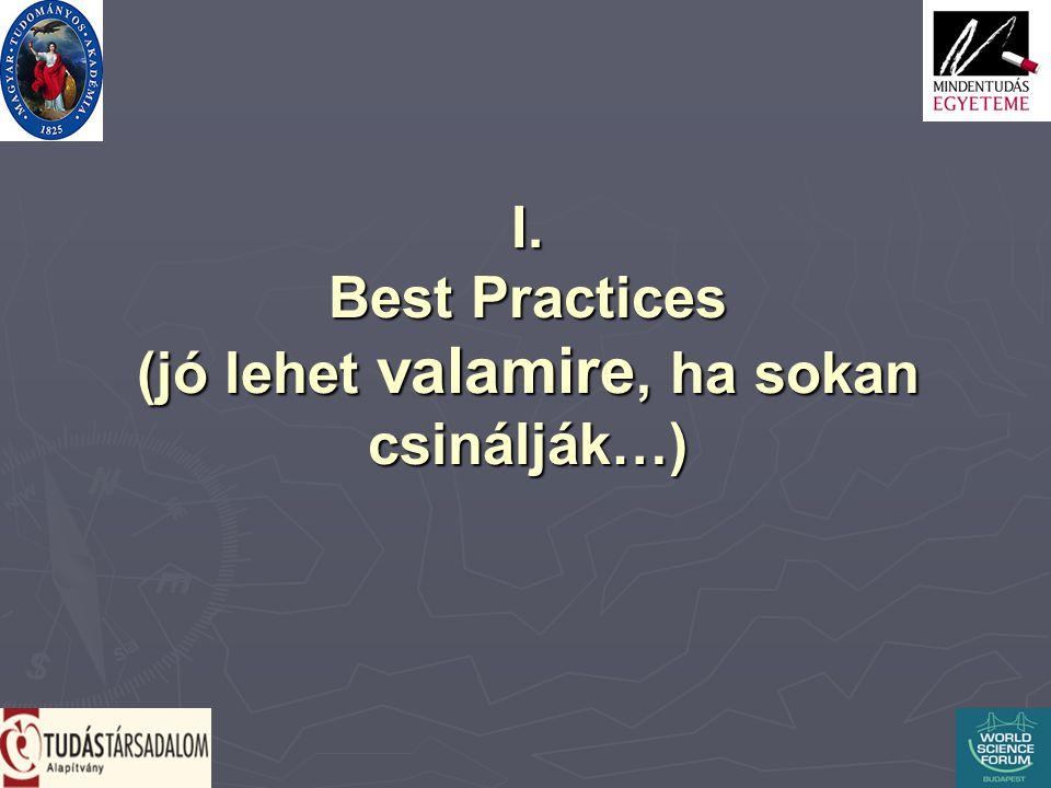 I. Best Practices (jó lehet valamire, ha sokan csinálják…)