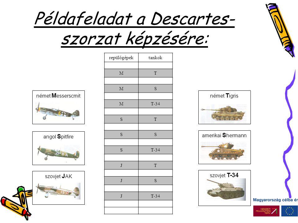 Példafeladat a Descartes- szorzat képzésére: •Repülőgépek támadják a harckocsik mellet harcoló gyalogos katonákat.