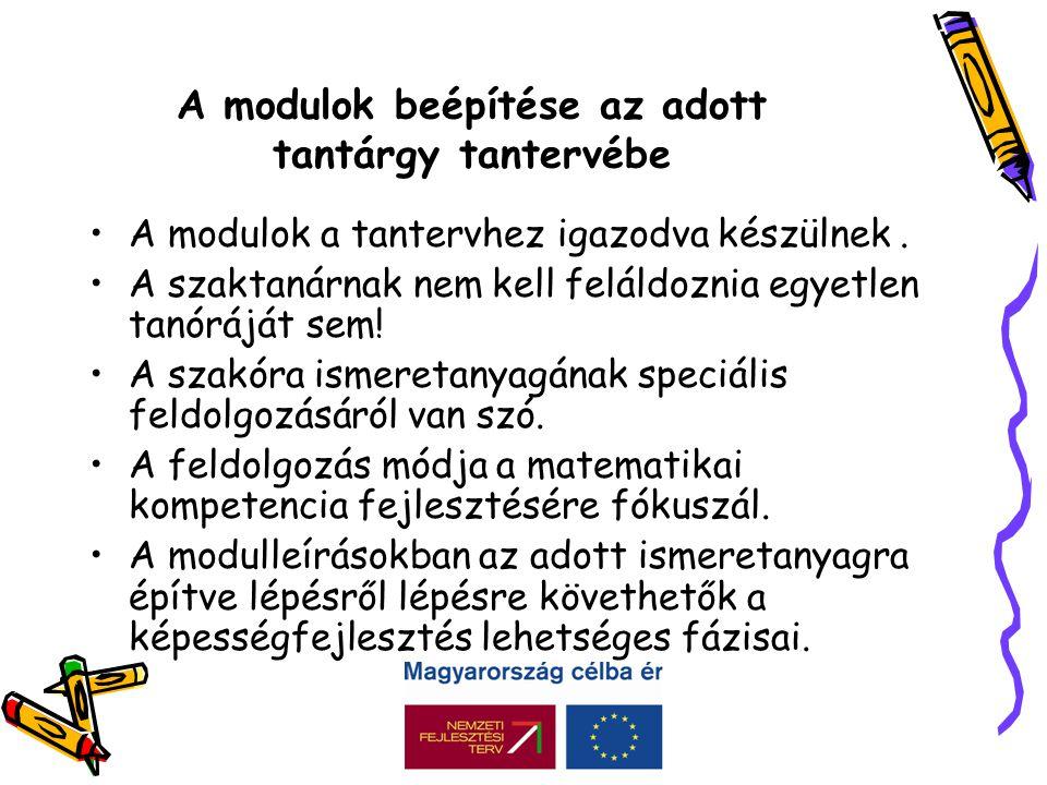 A modulok beépítése az adott tantárgy tantervébe •A modulok a tantervhez igazodva készülnek.