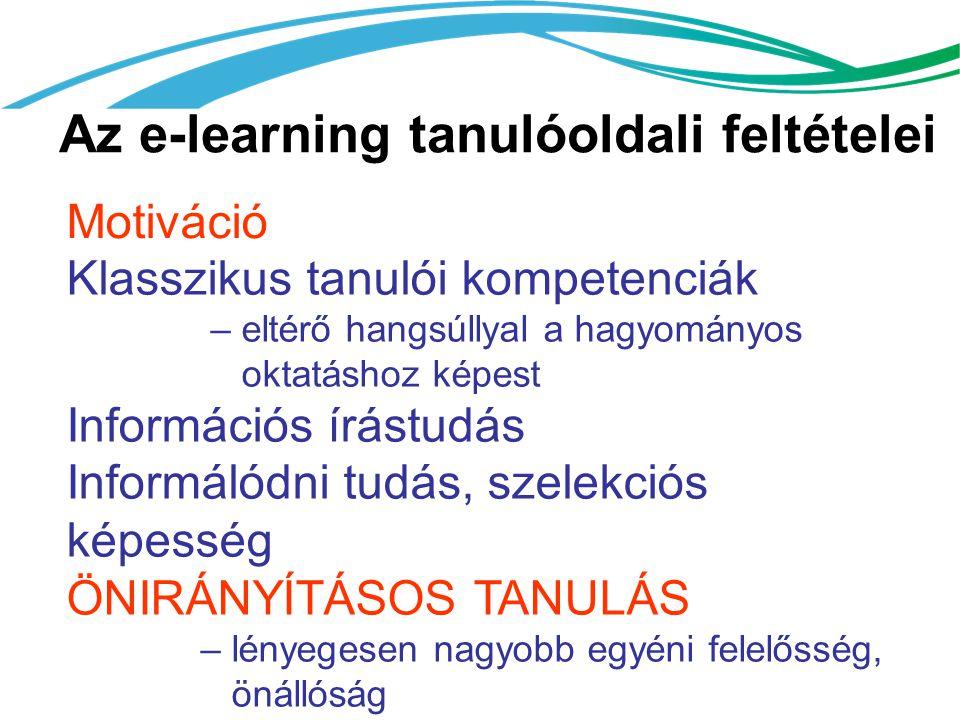 Az e-learning tanulóoldali feltételei Motiváció Klasszikus tanulói kompetenciák – eltérő hangsúllyal a hagyományos oktatáshoz képest Információs írást