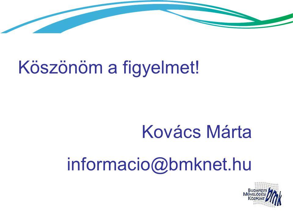 Köszönöm a figyelmet! Kovács Márta informacio@bmknet.hu
