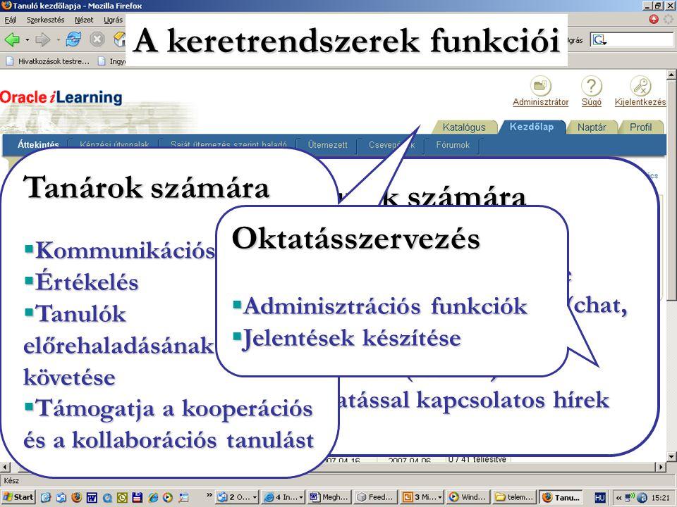 Tanulók számára  A tananyagok tárolóhelye  Kommunikációs eszköz (chat, fórum)  Értékelés (tesztek)  Oktatással kapcsolatos hírek A keretrendszerek funkciói Tanárokszámára Tanárok számára  Kommunikációs eszköz  Értékelés  Tanulók előrehaladásának követése  Támogatja a kooperációs és a kollaborációs tanulást Oktatásszervezés  Adminisztrációsfunkciók  Adminisztrációs funkciók  Jelentések készítése