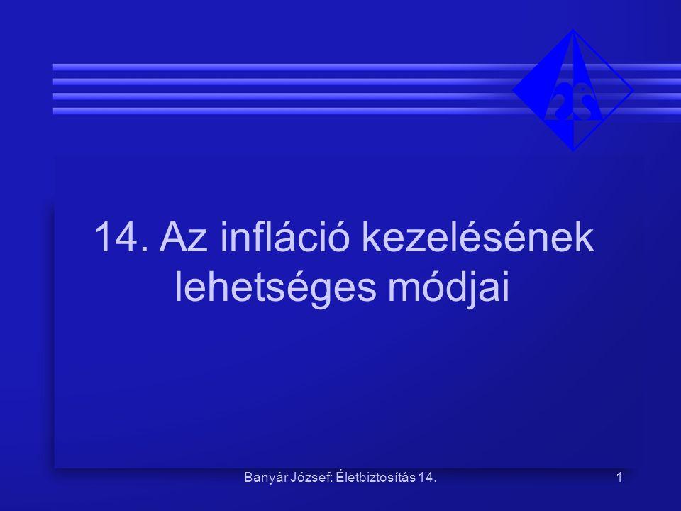 Banyár József: Életbiztosítás 14.2 Infláció: gond az ügyfélnek és a biztosítónak Ügyfélnek: elértékteleníti a szolgáltatást Biztosítónak: elértékteleníti a vállalkozói díjrészt Méltányossági probléma: a technikai kamatlábon felüli hozam kié.